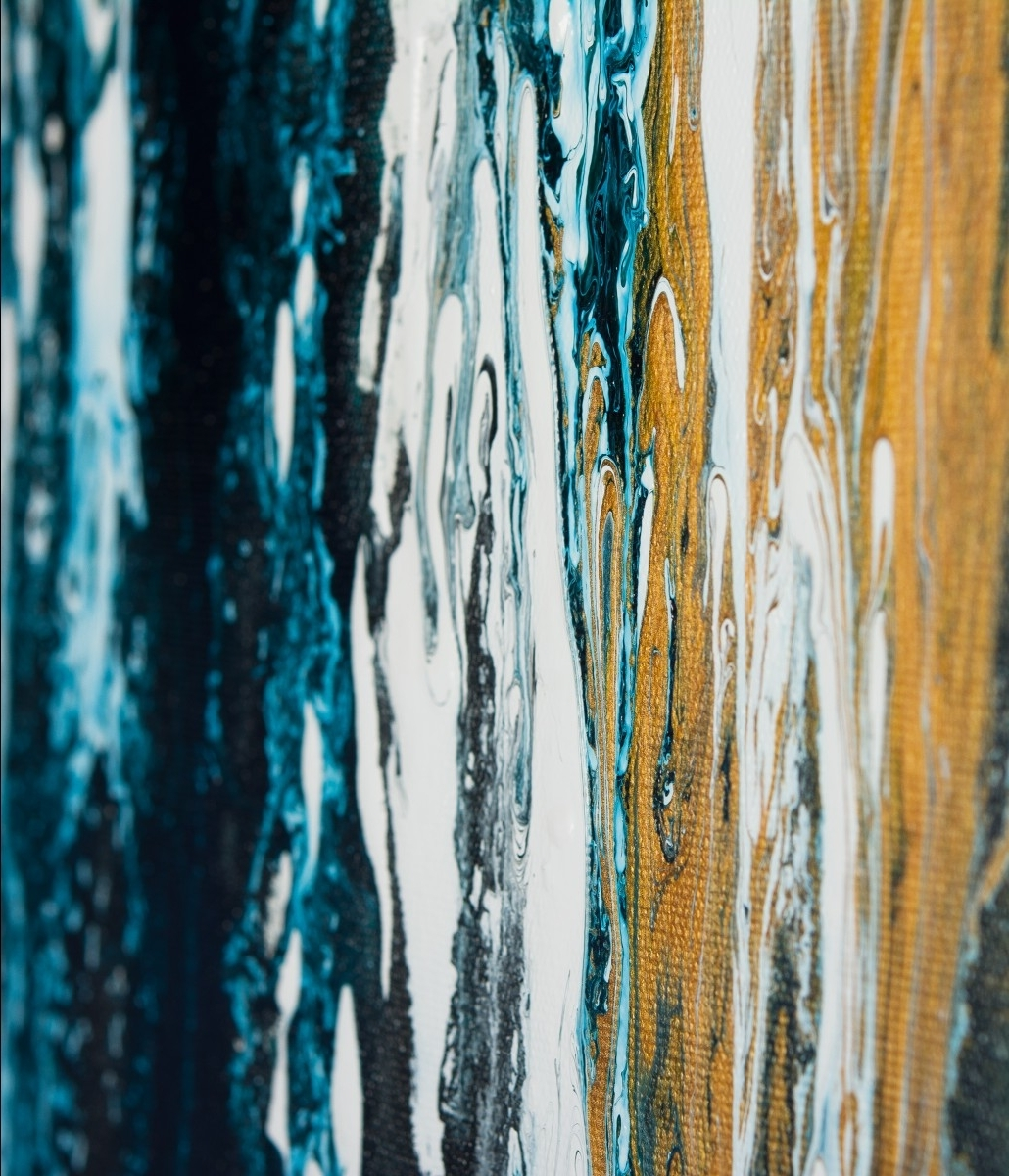 "Most Current Meteor Shower Iiqiqigallery 48""x24"" Original Modern Abstract In Teal And Gold Wall Art (View 14 of 15)"