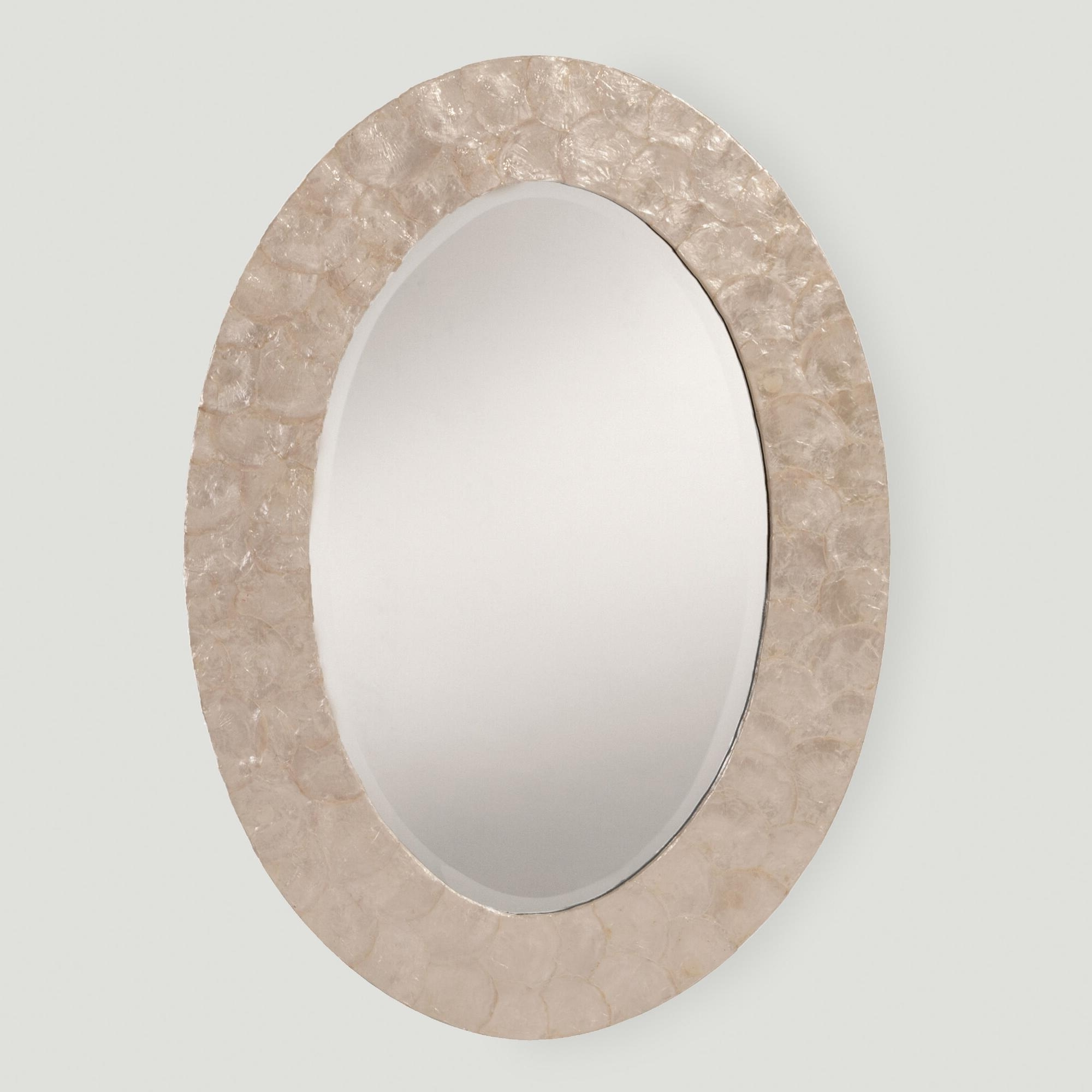 Most Current Mother Of Pearl Wall Art Throughout With An Iridescent Shimmer, Our Oval Mother Of Pearl Mirror Blends (View 11 of 15)