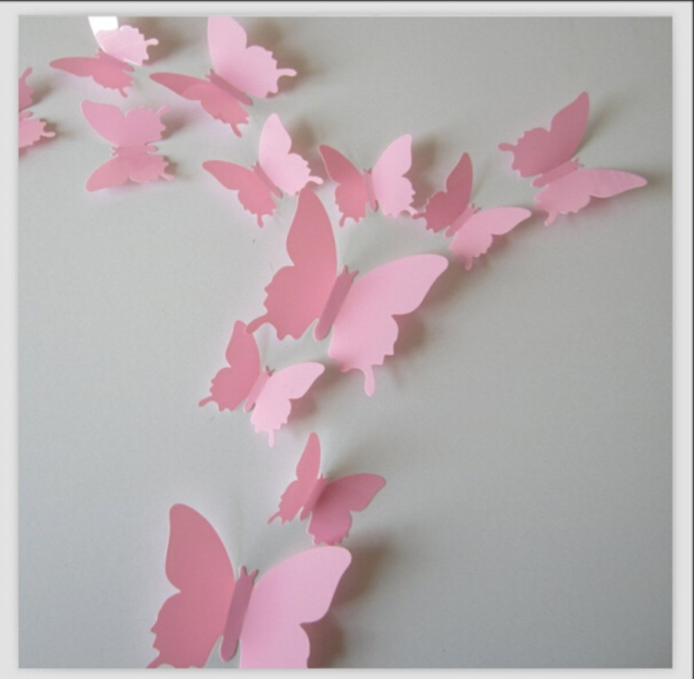 Most Current Pink Butterfly Wall Art In Amazon: Romantiko 12 Pcs Fashion 3D Butterfly Wall Stickers (View 7 of 15)