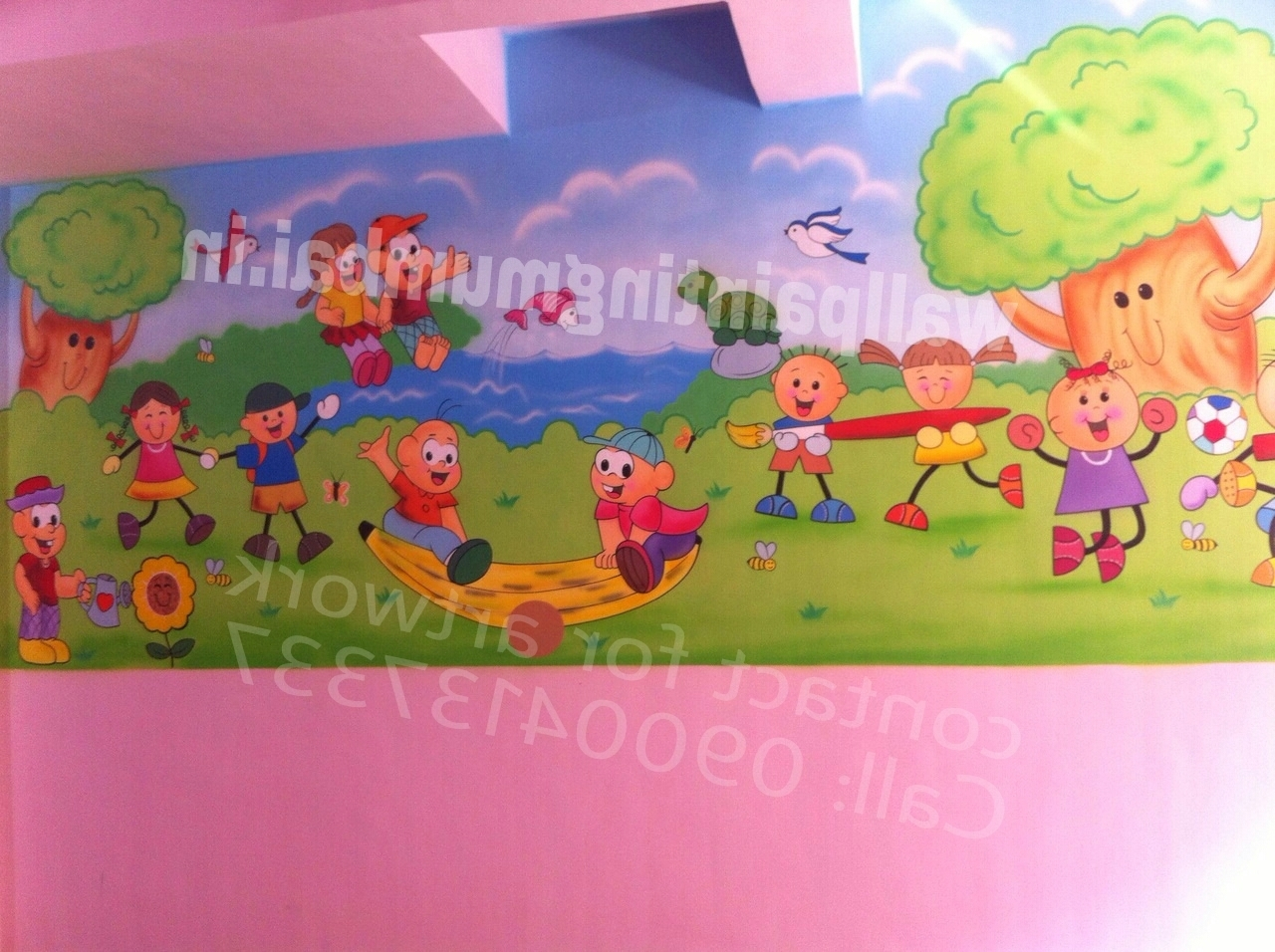 Most Current Preschool Wall Art Intended For Play School Wall Painting: Playschool Or Preschool Classroom Wall (View 10 of 15)