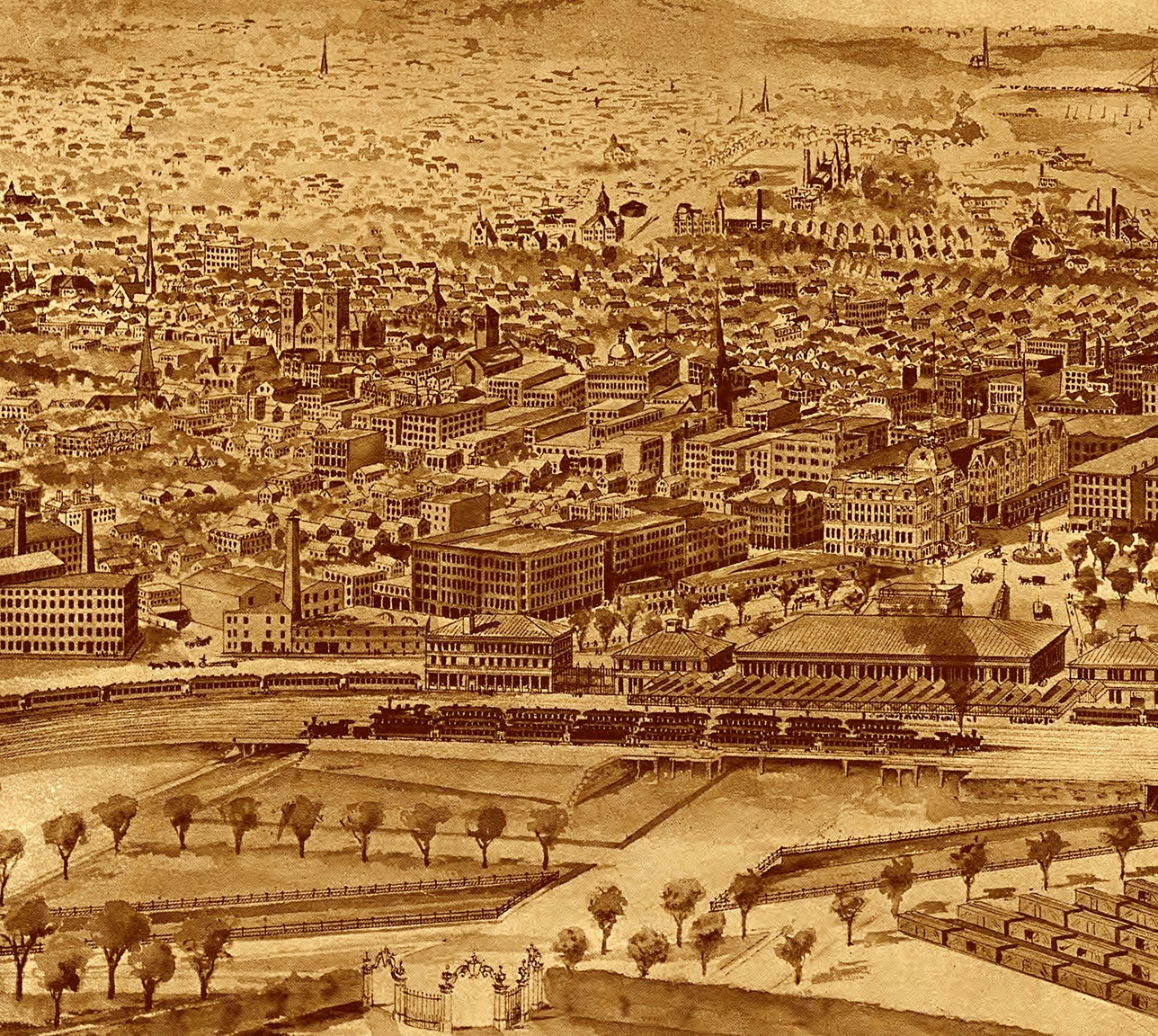 Most Current Providence, Ri In 1896 – Bird's Eye View Map, Aerial Map, Panorama Throughout Antique Map Wall Art (View 8 of 15)