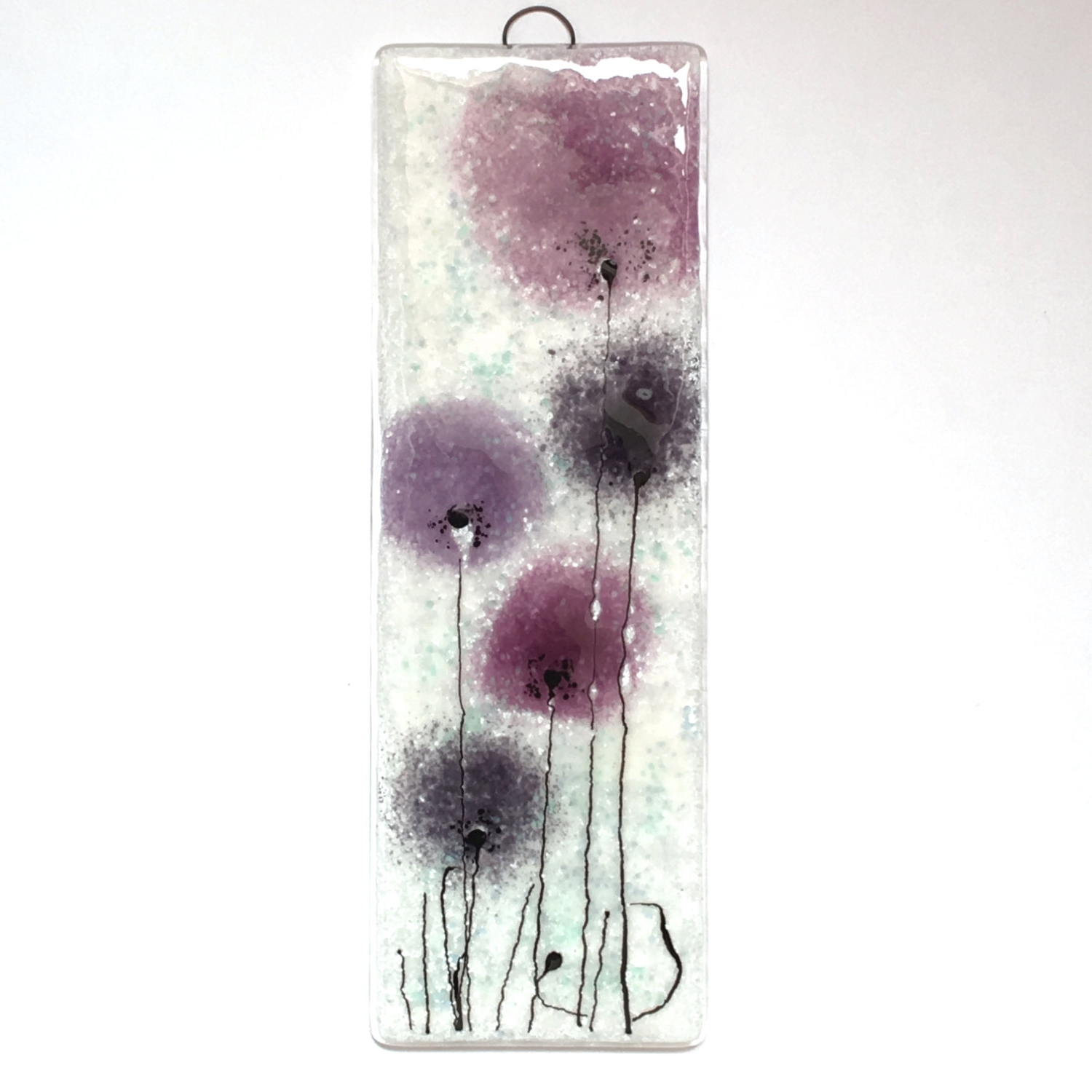 Most Current Purple Fused Glass Wall Art In Fused Glass Wall Art – Purple Flowers – Purple – Violet – Fused (View 8 of 15)