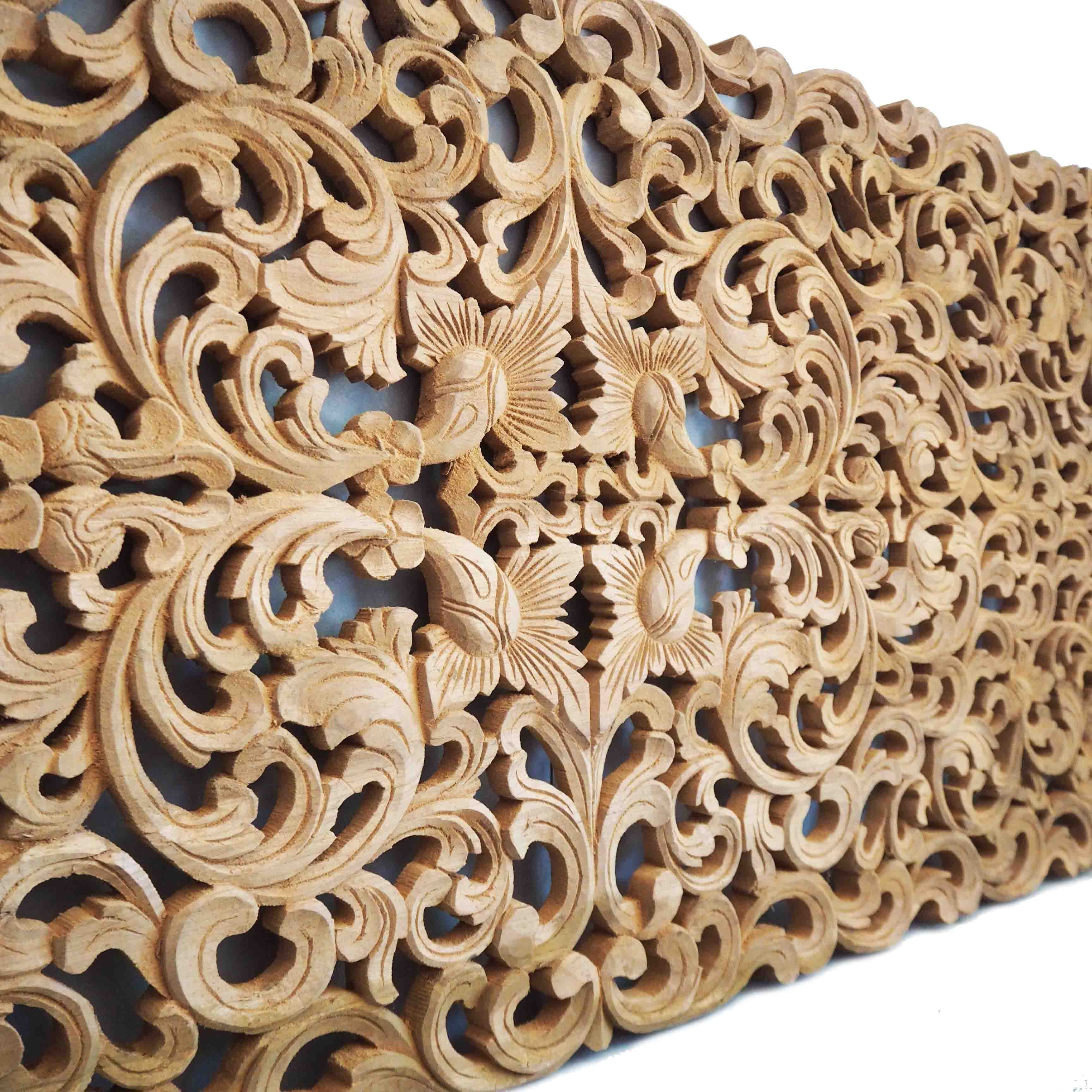 Most Current Queen Size Bed Carving Wall Art Panel U2013 Siam Sawadee Within Wood  Carved Wall