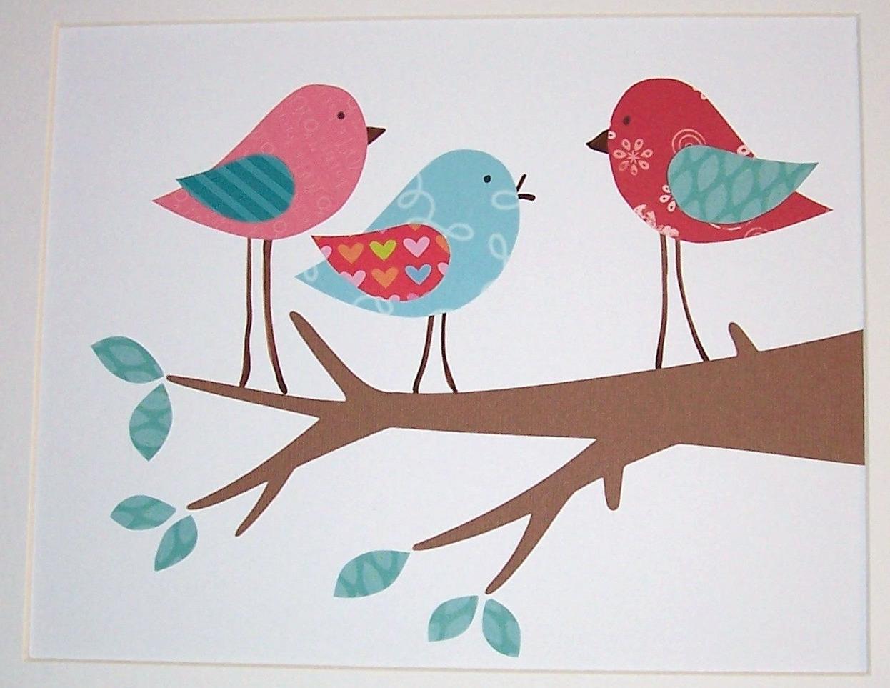 Most Current Red And Turquoise Wall Art Regarding Nursery Art, Kids Wall Art, Children's Room Decor, Birds, Aqua (View 11 of 15)