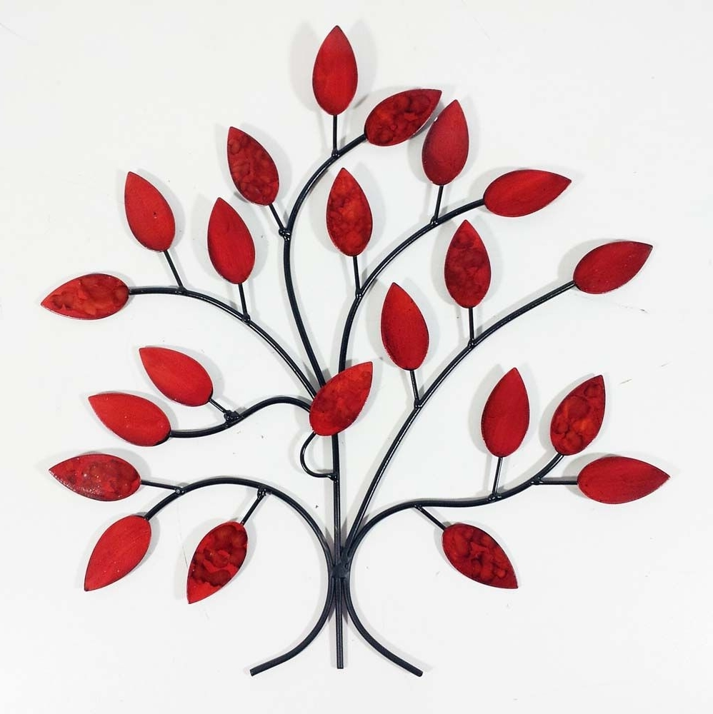 Most Current Red Flower Metal Wall Art Intended For Metal Wall Art – Fire Summer Tree Branch (View 12 of 15)