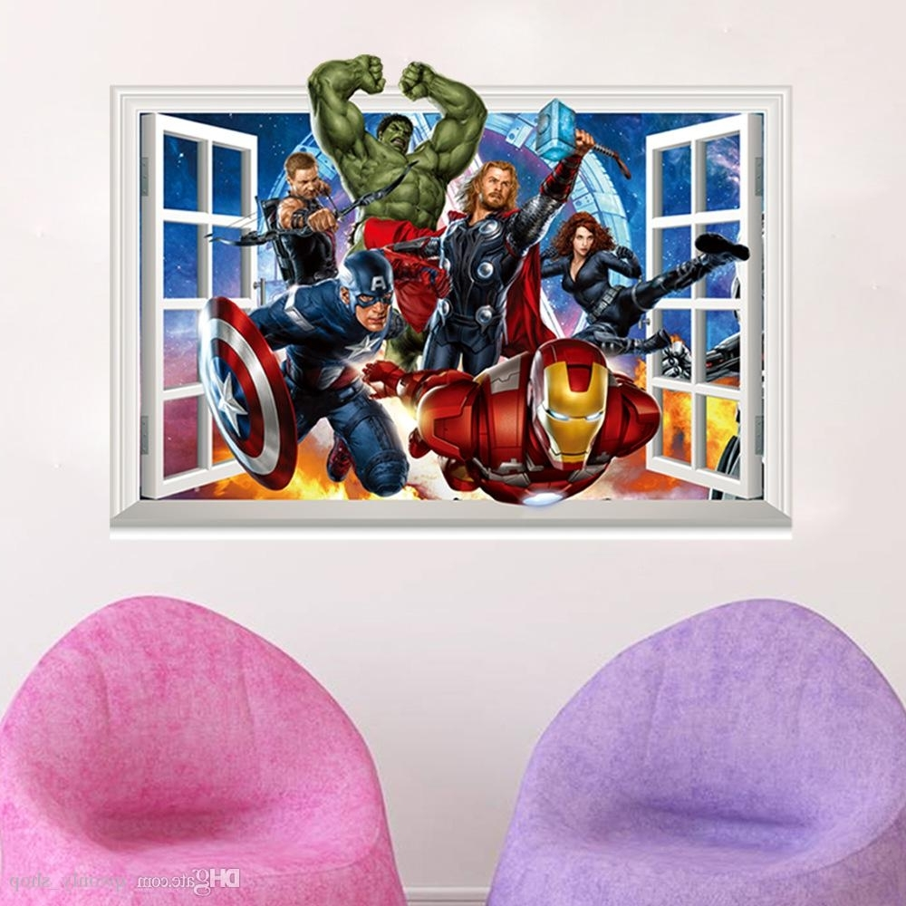 Most Current The Avengers 3d Window Effect Wall Sticker Super Hero Captain Throughout Captain America 3d Wall Art (View 8 of 15)