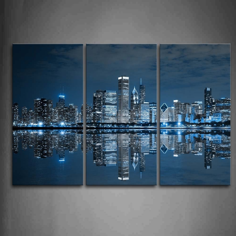 Most Current Unframed Canvas Painting Wall Art Blue Cool Buildings In Dark With Dark Blue Wall Art (View 4 of 15)