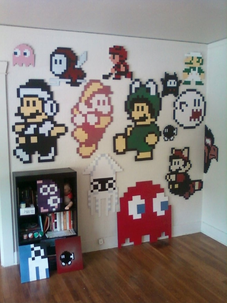 Most Current Video Game Wall Art Regarding Wall Art Decor Ideas: Space Bomb Devian Pixel Wall Art Classic (View 14 of 15)