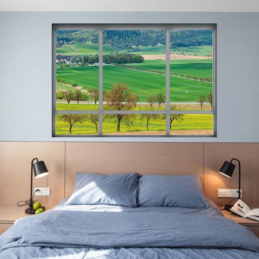 Most Current Vinyl 3D Wall Art In 2018 Countryside View Vinyl 3D Wall Art Sticker Green  (View 5 of 15)