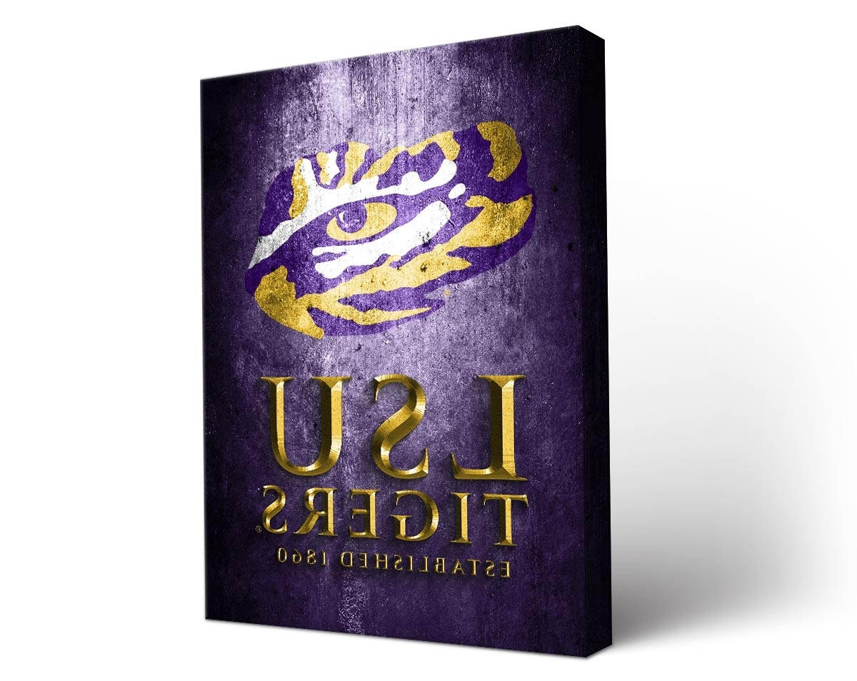 Most Current Wall Art Design Ideas: Wooden Canvas Lsu Wall Art Stained With Regard To Lsu Wall Art (View 10 of 15)