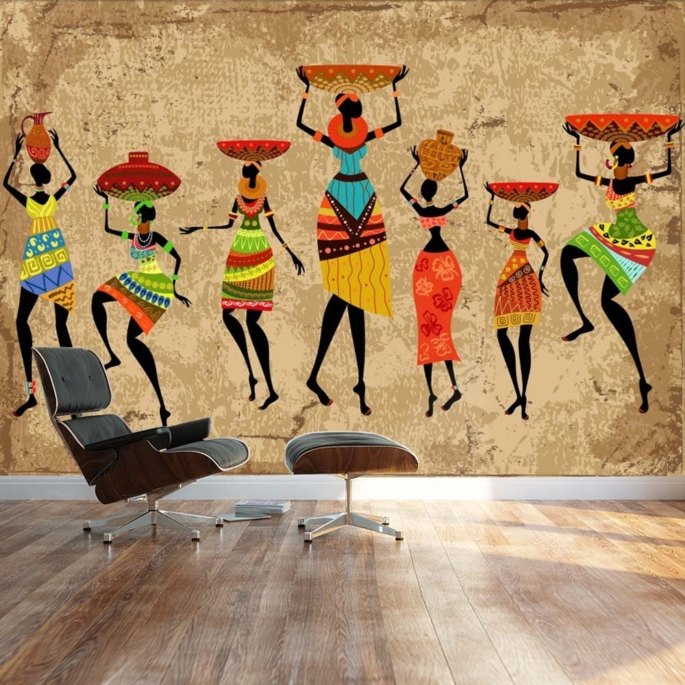 Most Current Wall26 – Large Wall Mural – Abstract Art African Woman On Grunge Throughout Abstract Art Wall Murals (View 10 of 15)