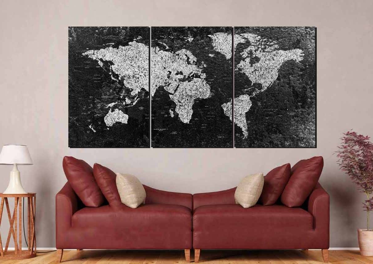 Most Current World Map, Large Black And White World Map,,world Map Canvas With Regard To Large Black And White Wall Art (View 15 of 15)