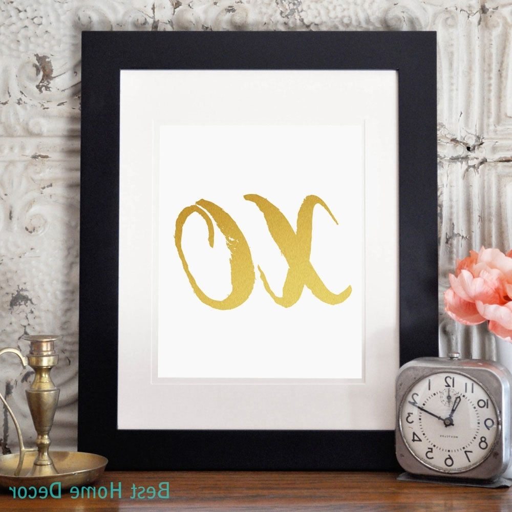 Most Current Xo Poster Print Hugs And Kisses Nursery Gold Wall Art Home Decor With Regard To Nursery Framed Wall Art (View 4 of 15)