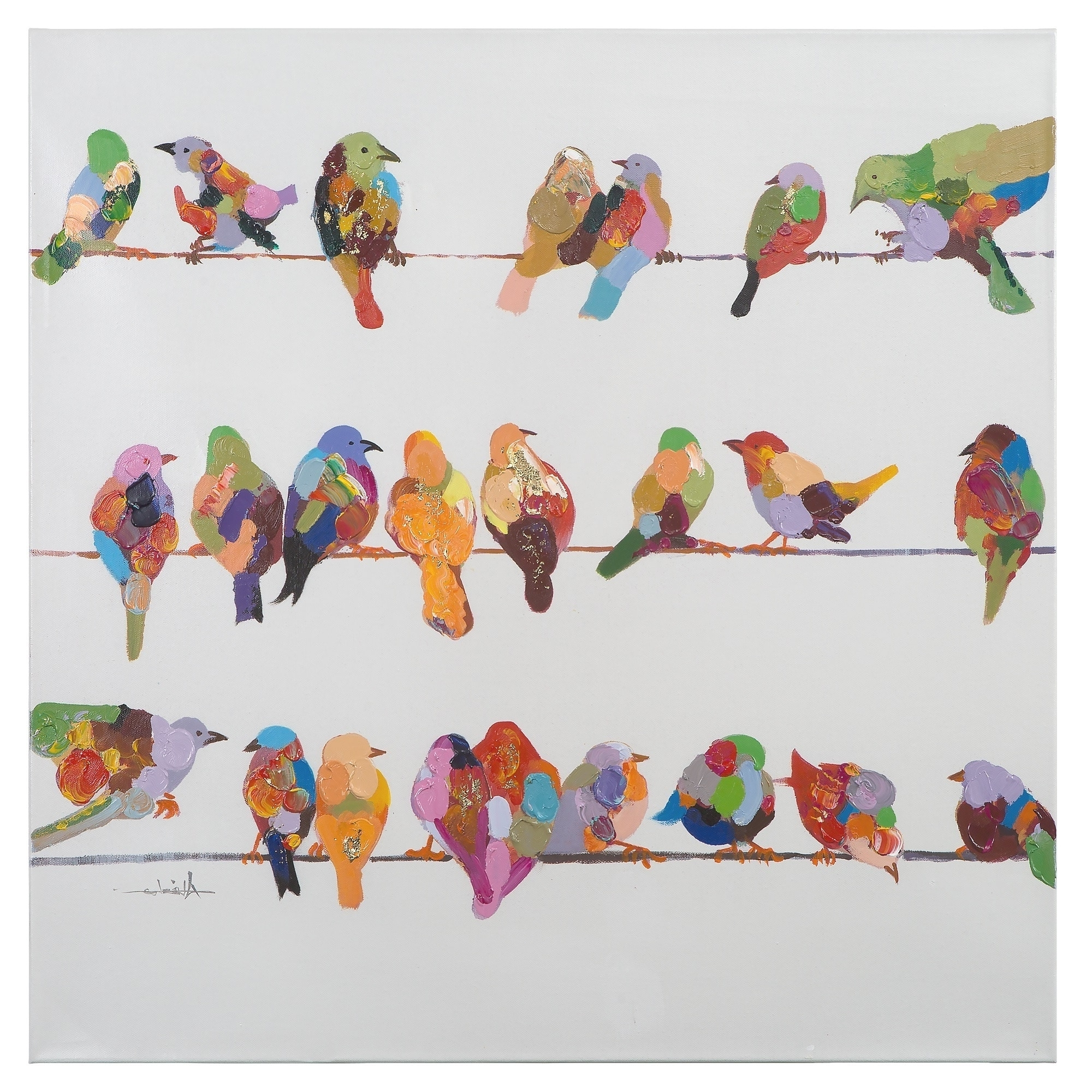 Most Current Yosemite Home Decor 'birds On A Wire Ii' Original Hand Painted In Birds On A Wire Wall Art (View 7 of 15)