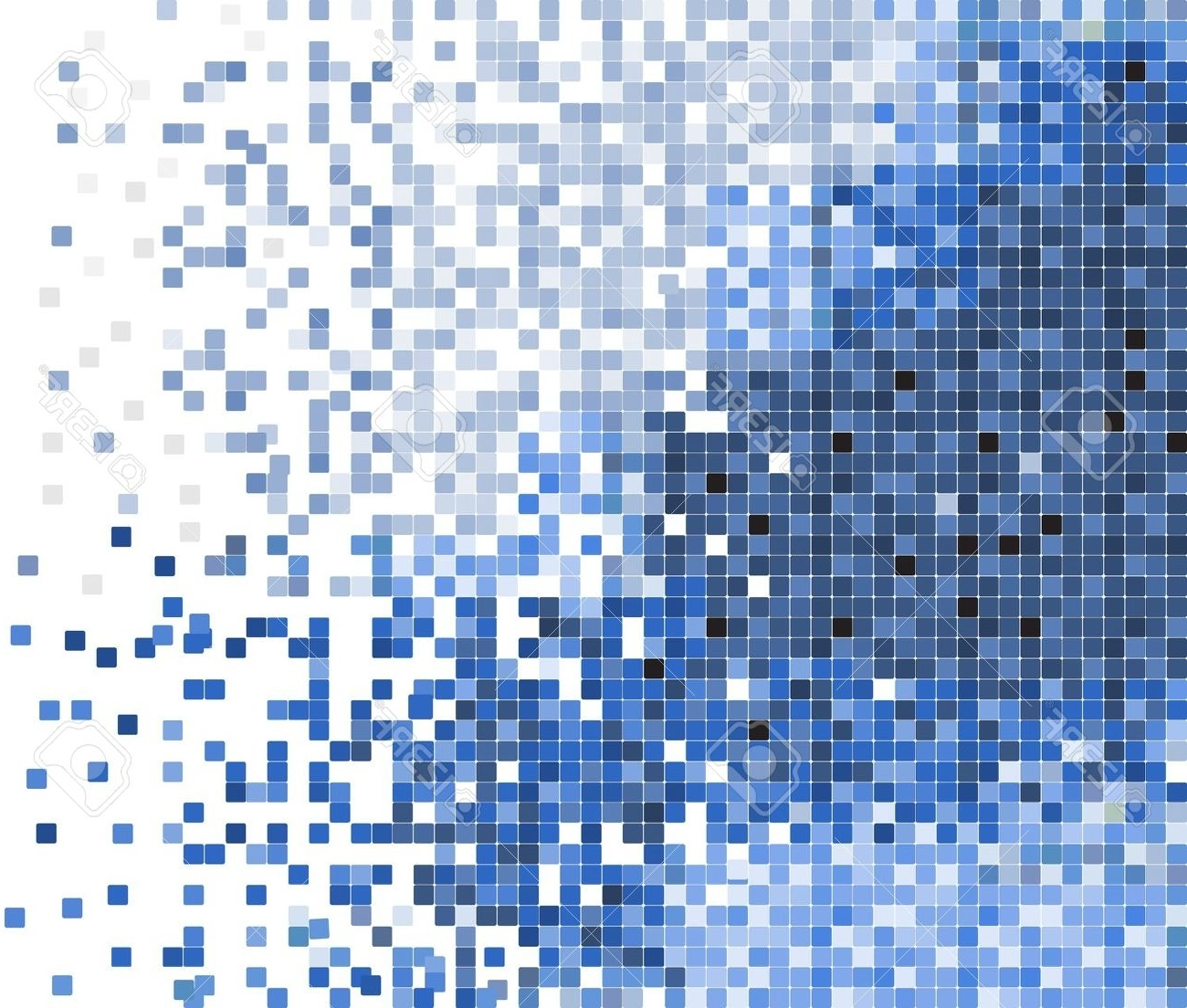 Most Popular 14305250 Abstract Blue Pixel Mosaic Stock Vector Wall (1300 Inside Pixel Mosaic Wall Art (View 8 of 15)