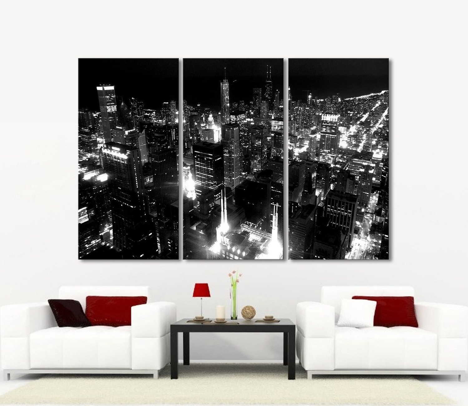 Most Popular 3 Piece Wall Art With Large Wall Art Canvas Print Chicago City Skyline At Night –  (View 12 of 15)