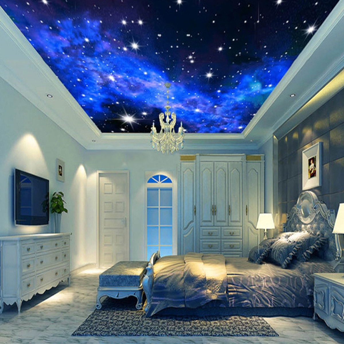Most Popular 3D Clouds Out Of Paper Wall Art Intended For 3D Wallpaper Mural Night Clouds Star Sky Wall Paper Background (View 9 of 15)