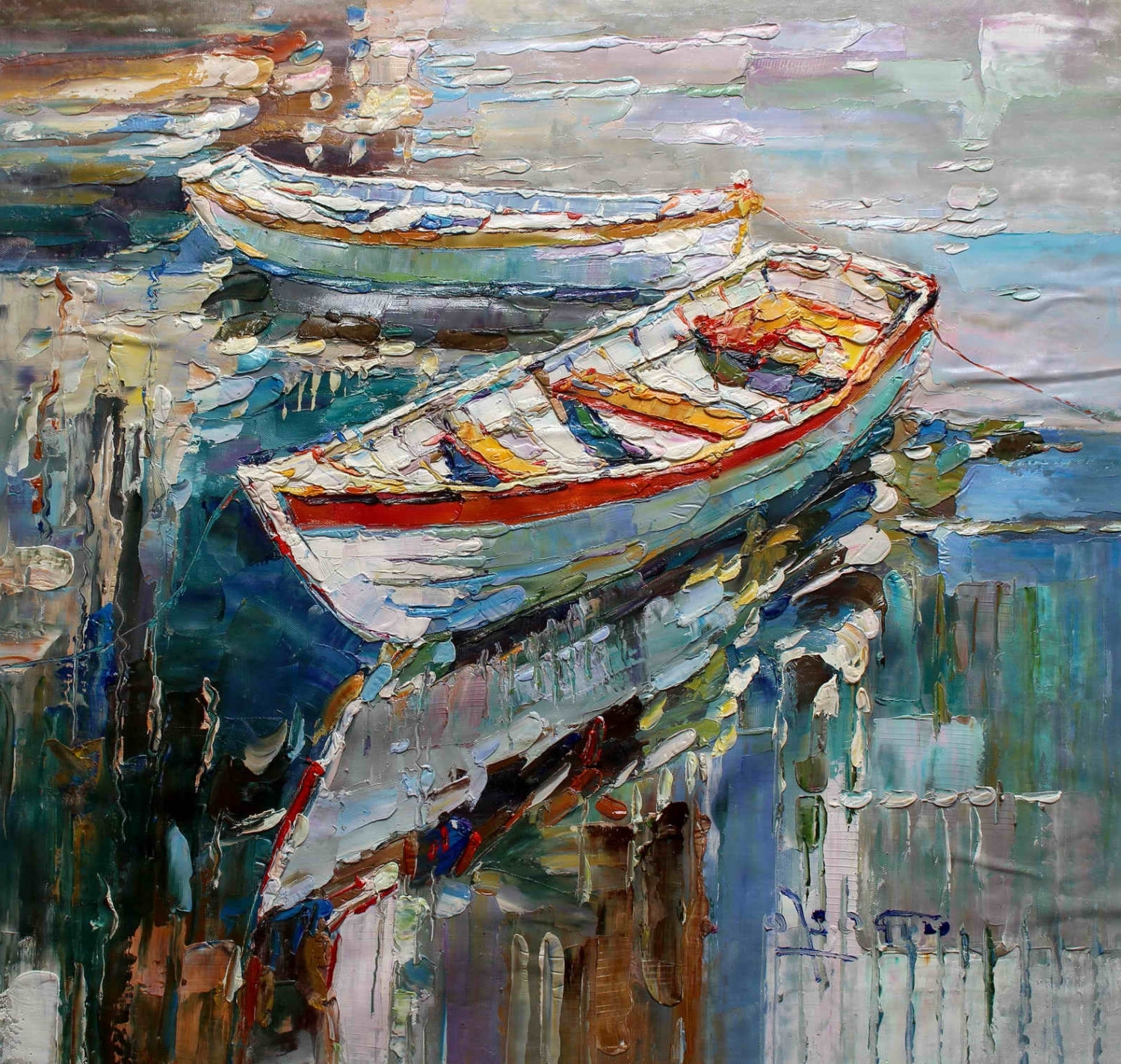 "Most Popular 40x40"" – Original Modern Italian Art Oil Painting – Fishing Boats With Modern Italian Wall Art (View 8 of 15)"