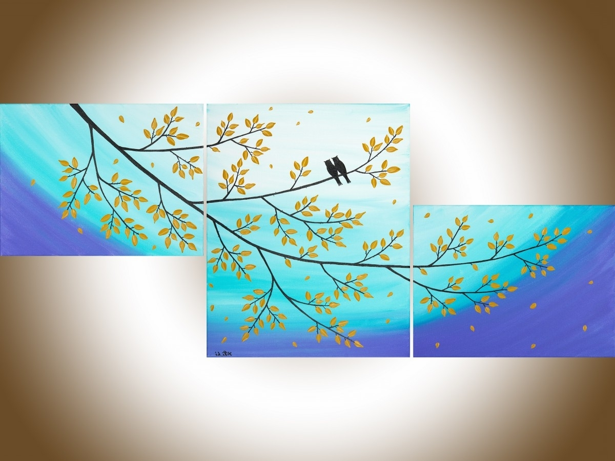 """Most Popular Abstract Bird Wall Art Throughout Moonlight Sonataqiqigallery 48""""x20"""" Original Abstract Love (View 12 of 15)"""