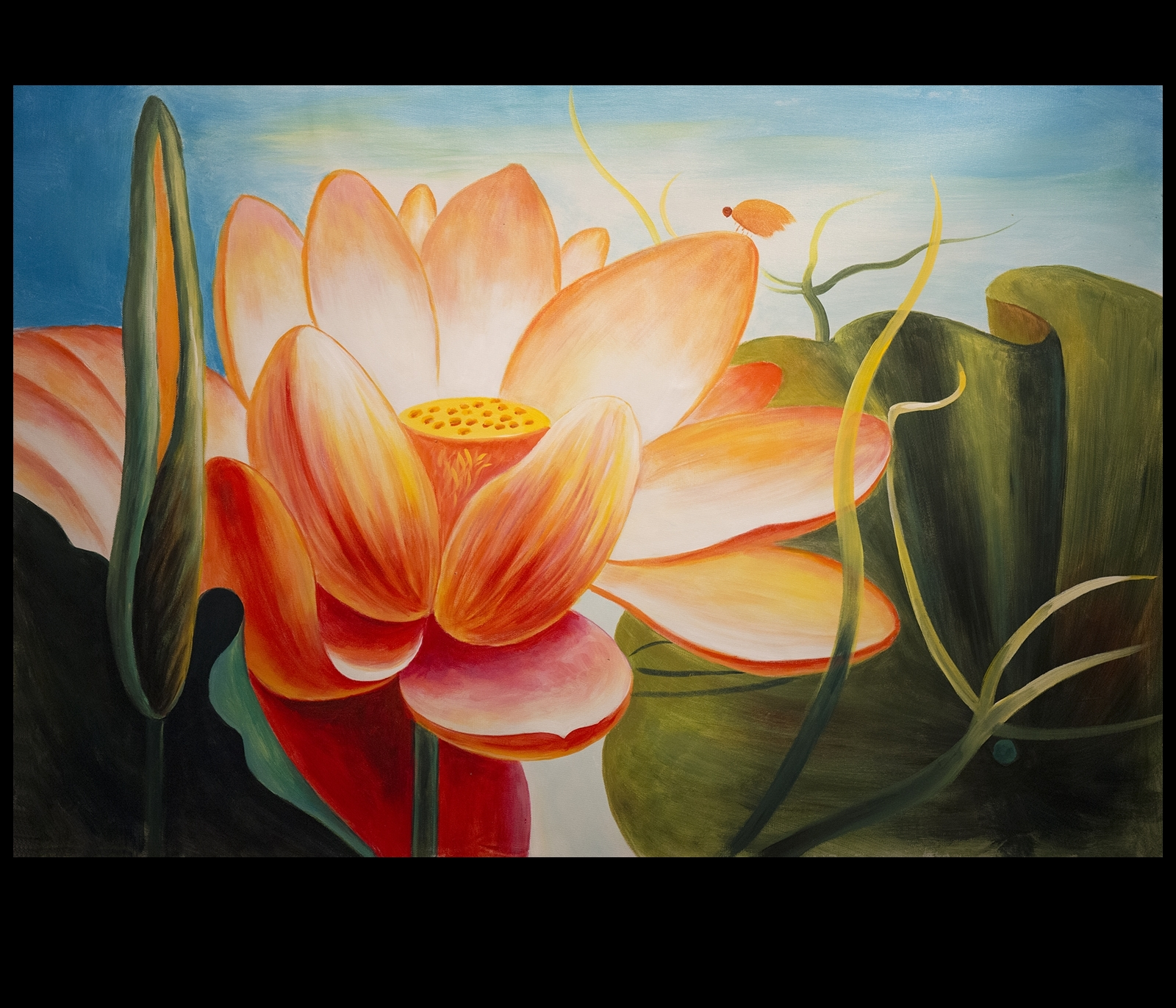 Most Popular Abstract Flower Wall Art In Abstract Flower Painting Lotus Flower Painting Asian Wall Decor (View 9 of 15)