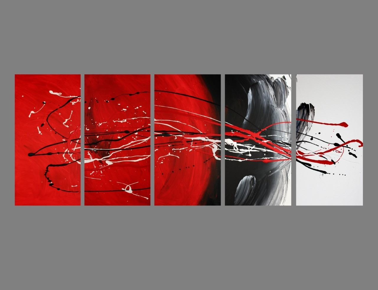 Most Popular Abstract Graphic Wall Art Inside Abstract Canvas Painting Red Black White Modern Wall Art Artwork (View 5 of 15)