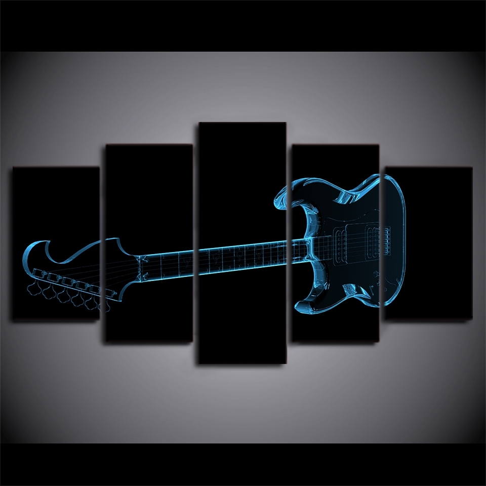 Most Popular Abstract Neon Wall Art For Hd Printed 5 Piece Canvas Art Music Abstract Guitar Painting Black (View 10 of 15)