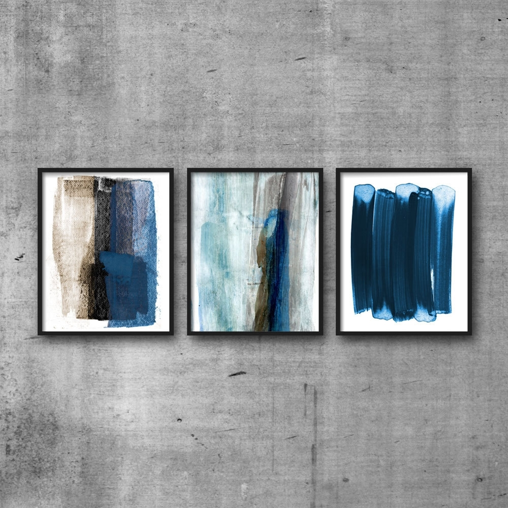 Most Popular Abstract Watercolor Painting, Set Of 3 Prints, Brush Stroke Art Throughout Blue And Brown Abstract Wall Art (View 10 of 15)