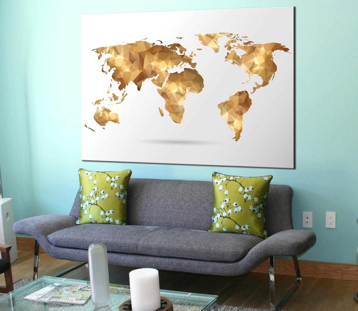 Most Popular Abstract World Map Wall Art Intended For Golden Geometric World Map Canvas Panels Set, Large Modern (View 6 of 15)