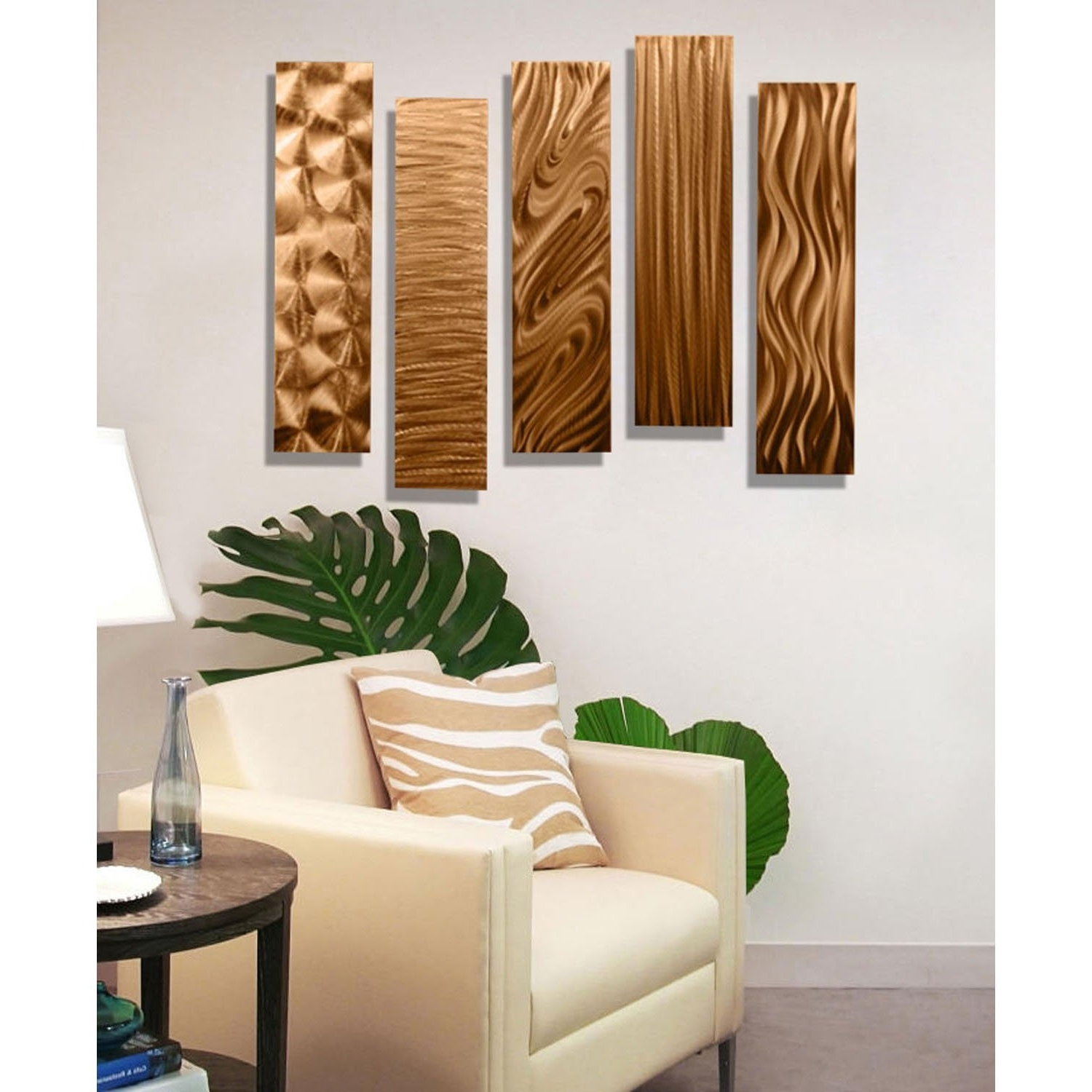 Most Popular Amazon: Statements2000 Copper Metal Wall Art Decor, 5 Piece Throughout Rectangular Metal Wall Art (View 4 of 15)