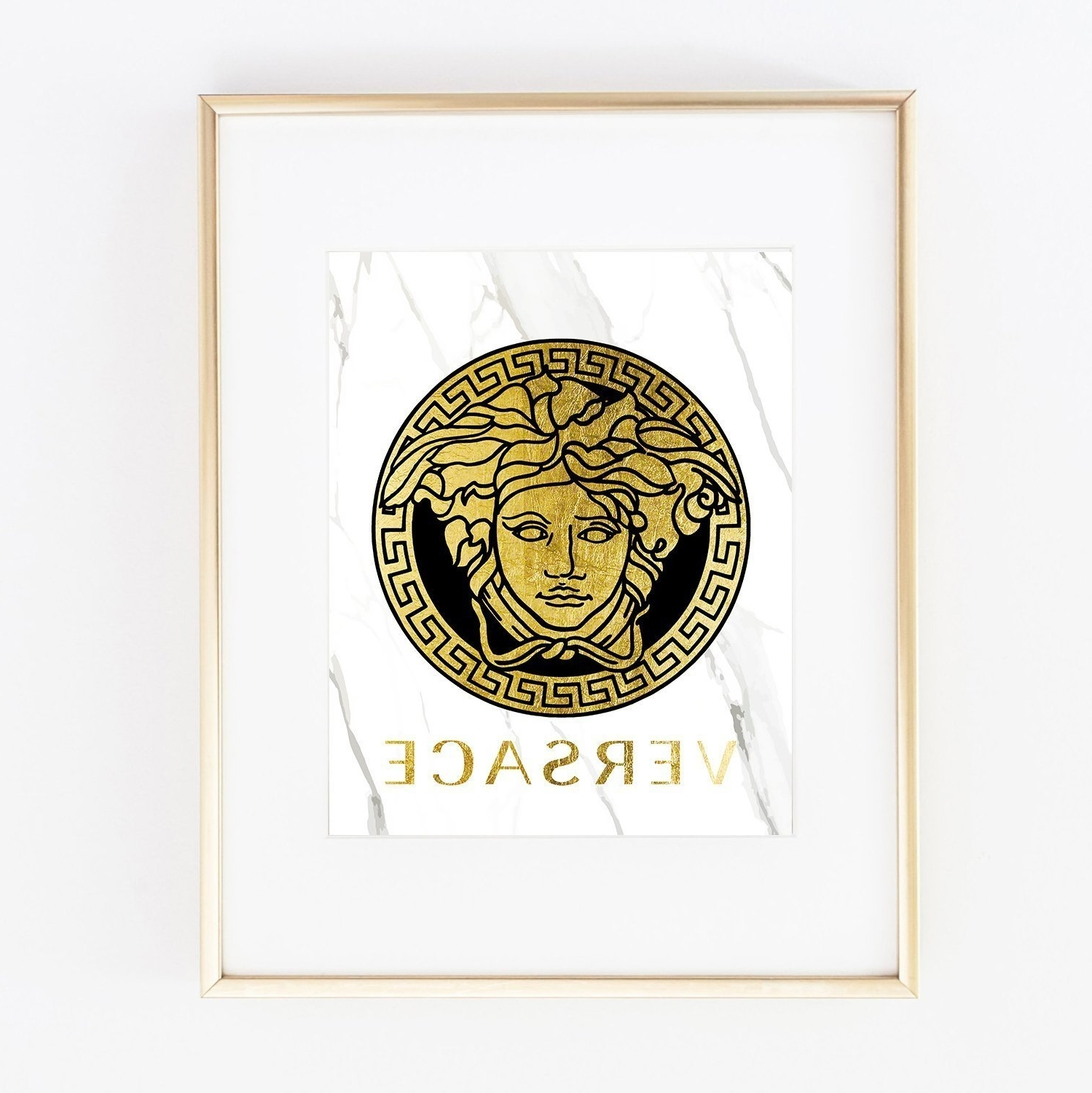 Most Popular Amazon: Versace Real Gold Foil Designer Wall Art Print Fashion Throughout Versace Wall Art (View 3 of 15)
