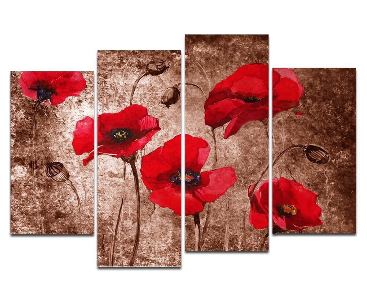 Most Popular Amazon: Wieco Art – Red Poppies On Brown Large 4 Panels Modern With Red Poppy Canvas Wall Art (View 4 of 15)
