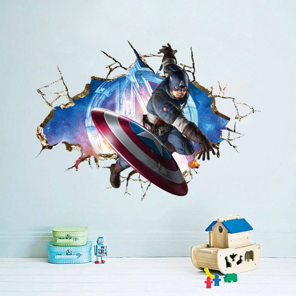 Most Popular Avengers 3d Wall Art Within Latest 3d Super Hero Marvel Party Decoration The Avengers American (View 5 of 15)