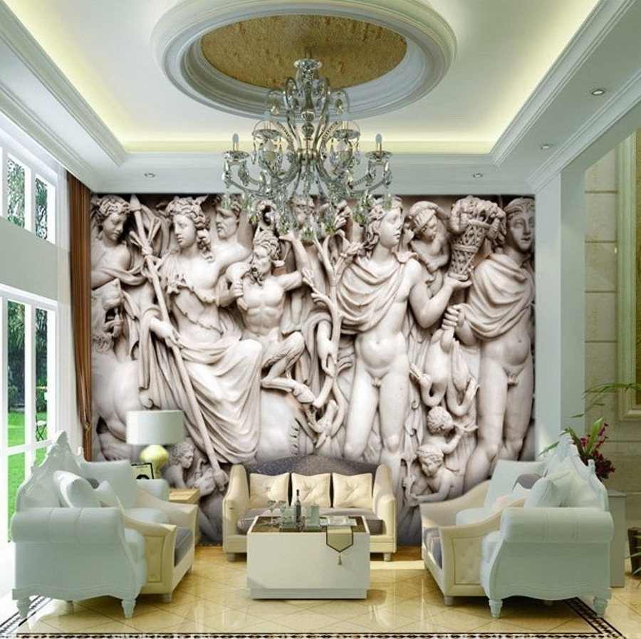 Most Popular Beibehang Mural 3D Wall Paper European Sculpture Like Retro Art With 3D Wall Art For Living Room (View 13 of 15)