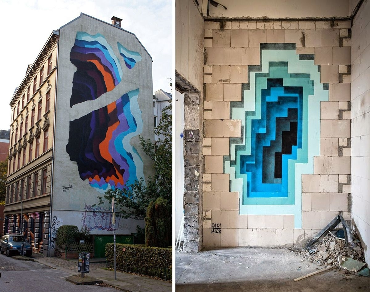Most Popular Brand New Murals'1010' Expose Hidden Portals Of Color In Walls For 3D Wall Art Illusions (View 8 of 15)