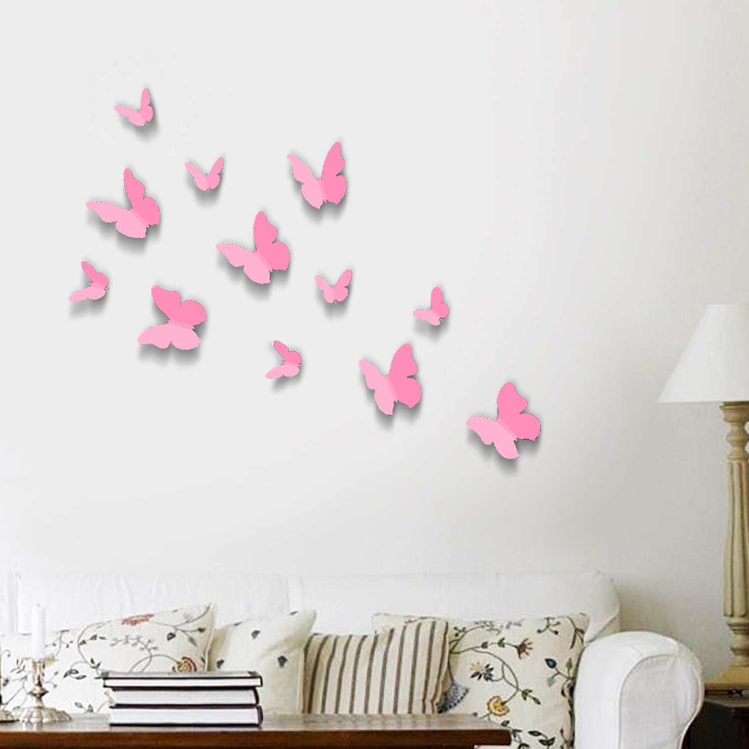 Most Popular Butterflies 3D Wall Art Regarding Pink 3D Butterflies Wall Art Stickers (View 11 of 15)