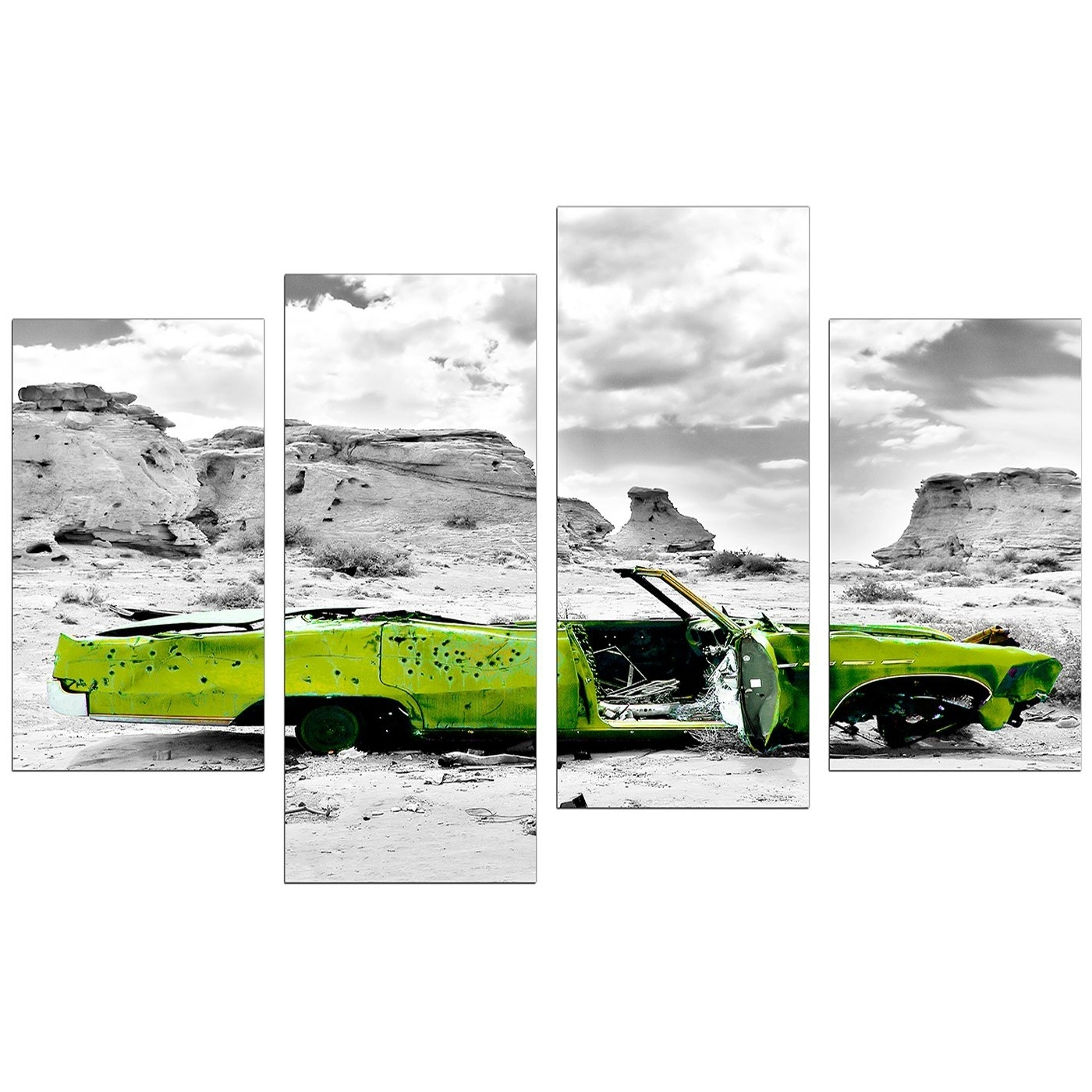 Most Popular Canvas Art Of Green Car In Black & White For Your Office With Regard To Large Green Wall Art (View 13 of 15)