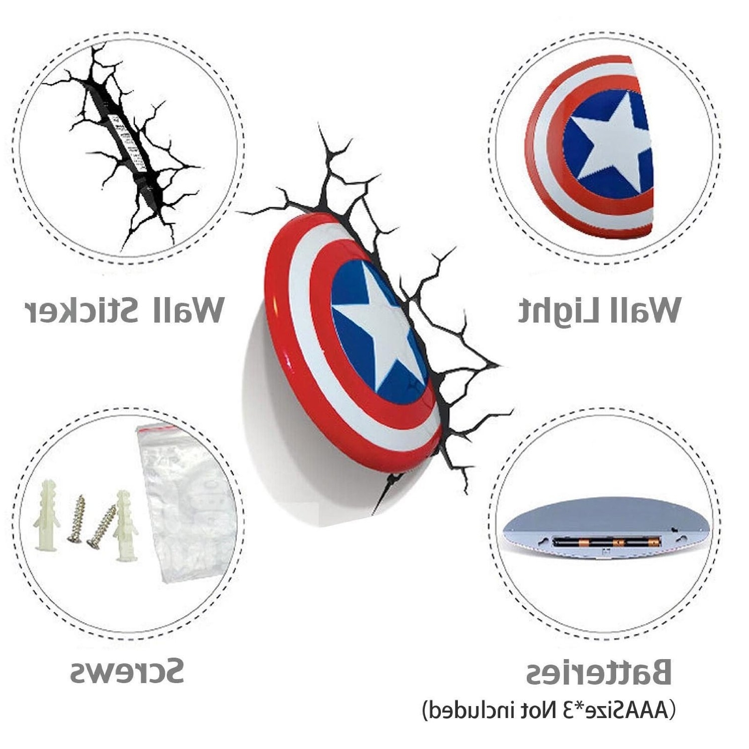 Most Popular Captain America 3d Wall Art Within Captain America Bouclier Légère 3d Fx Deco Del Wall Nightlight (View 14 of 15)