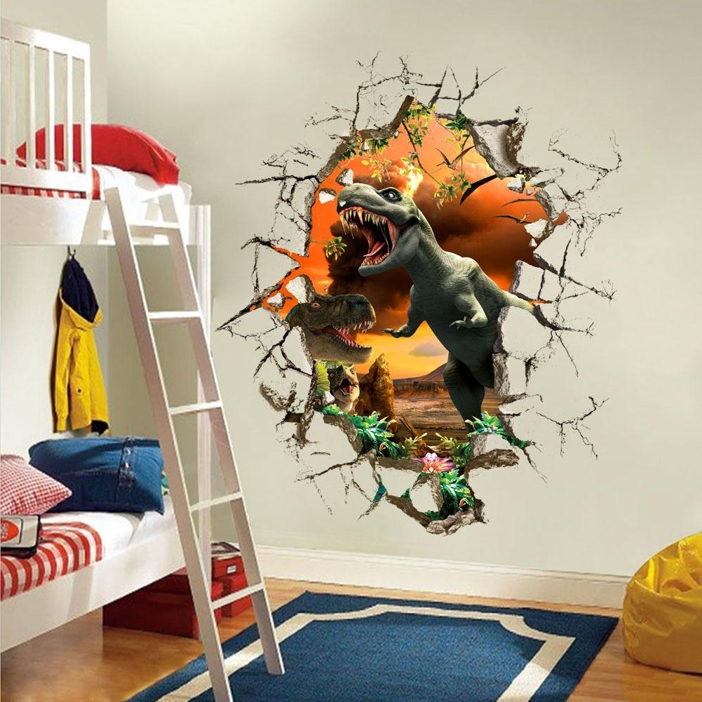 Most Popular Cartoon 3D Dinosaur Wall Sticker For Boys Room Child Art Decor Inside Venezuela Wall Art 3D (View 3 of 15)