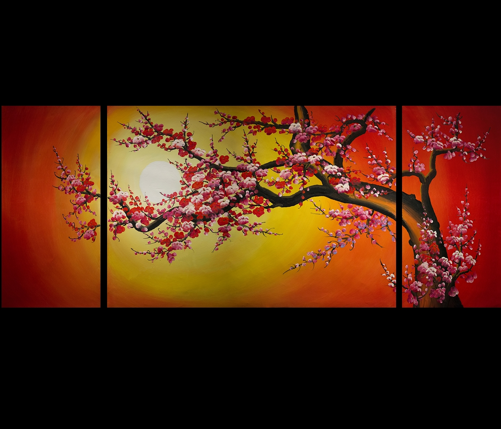 Most Popular Cherry Blossom Oil Painting Modern Abstract Wall Art For Chinese Cherry Blossom Feng Shui Oil Painting Abstract Art Modern (View 7 of 15)