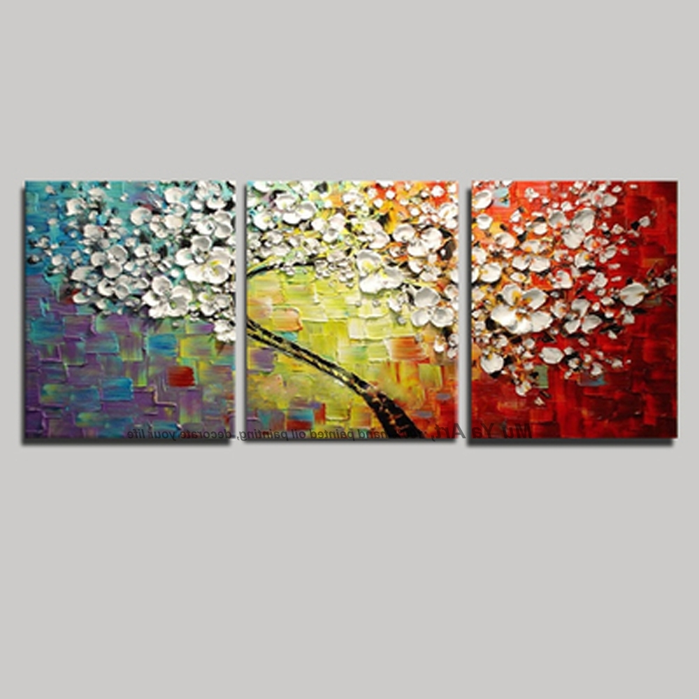 Most Popular Cherry Blossom Oil Painting Modern Abstract Wall Art Within 3 Panel Wall Art Canvas Tree Acrylic Decorative Pictures Hand (View 10 of 15)