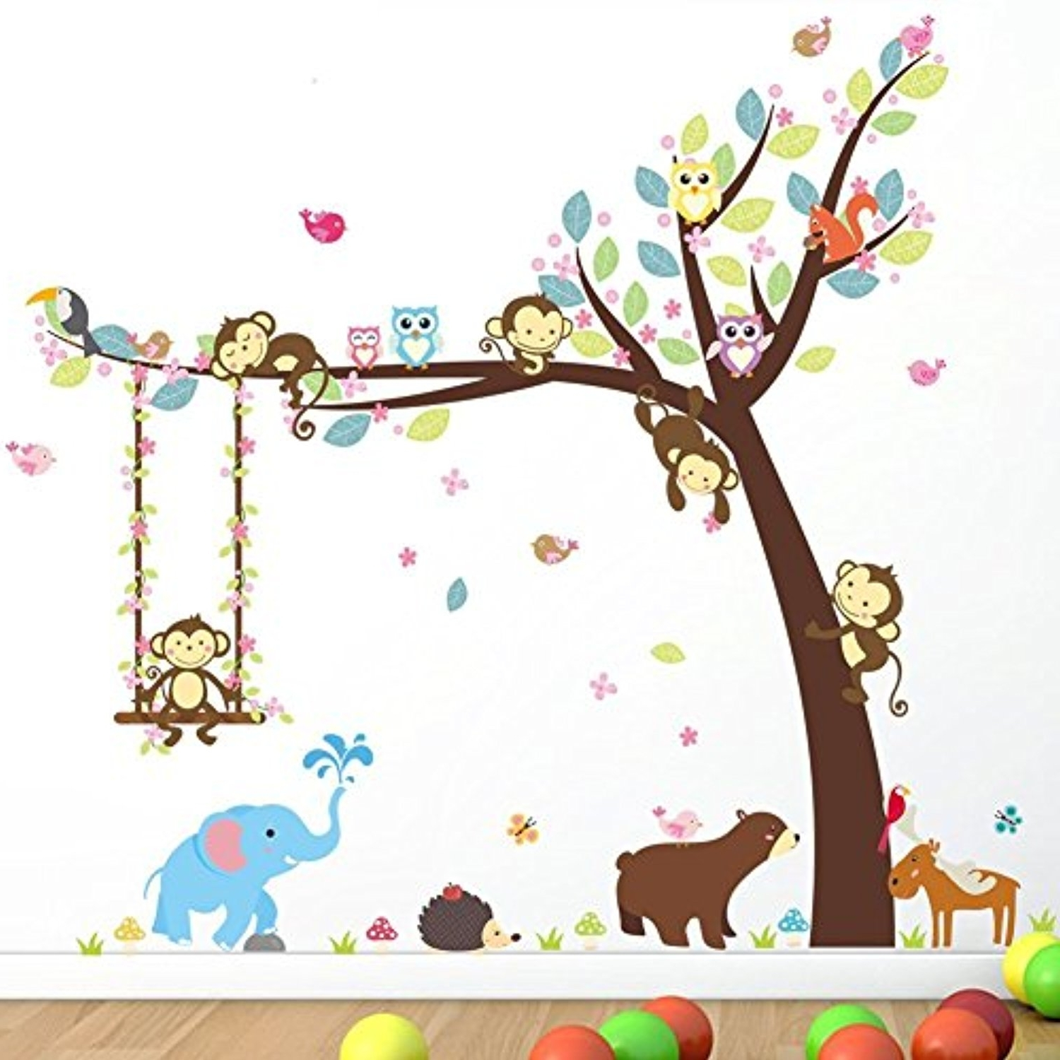 Most Popular Children Wall Art With Regard To Animoeco Animal Wall Stickers Monkey Bear Owls Elephant Jungle (View 12 of 15)