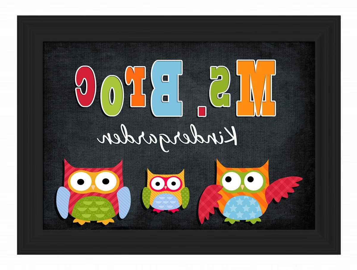 Most Popular Custom Framed Owl Theme Teacher Name Sign Board Personalized Intended For Owl Framed Wall Art (View 7 of 15)