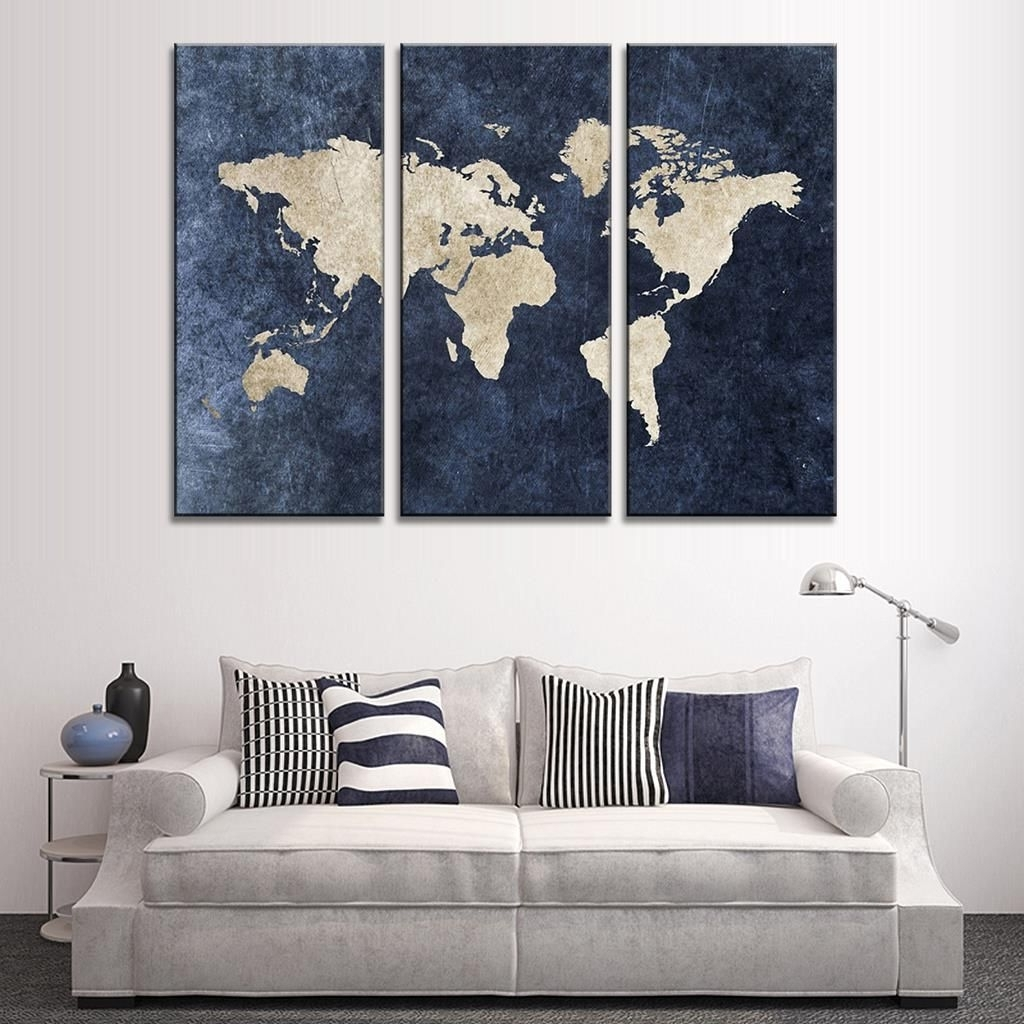 Most Popular Dark Blue Abstract Wall Art Within New 3 Pcs/set Abstract Navy Blue World Map Canvas Painting Modern (View 8 of 15)