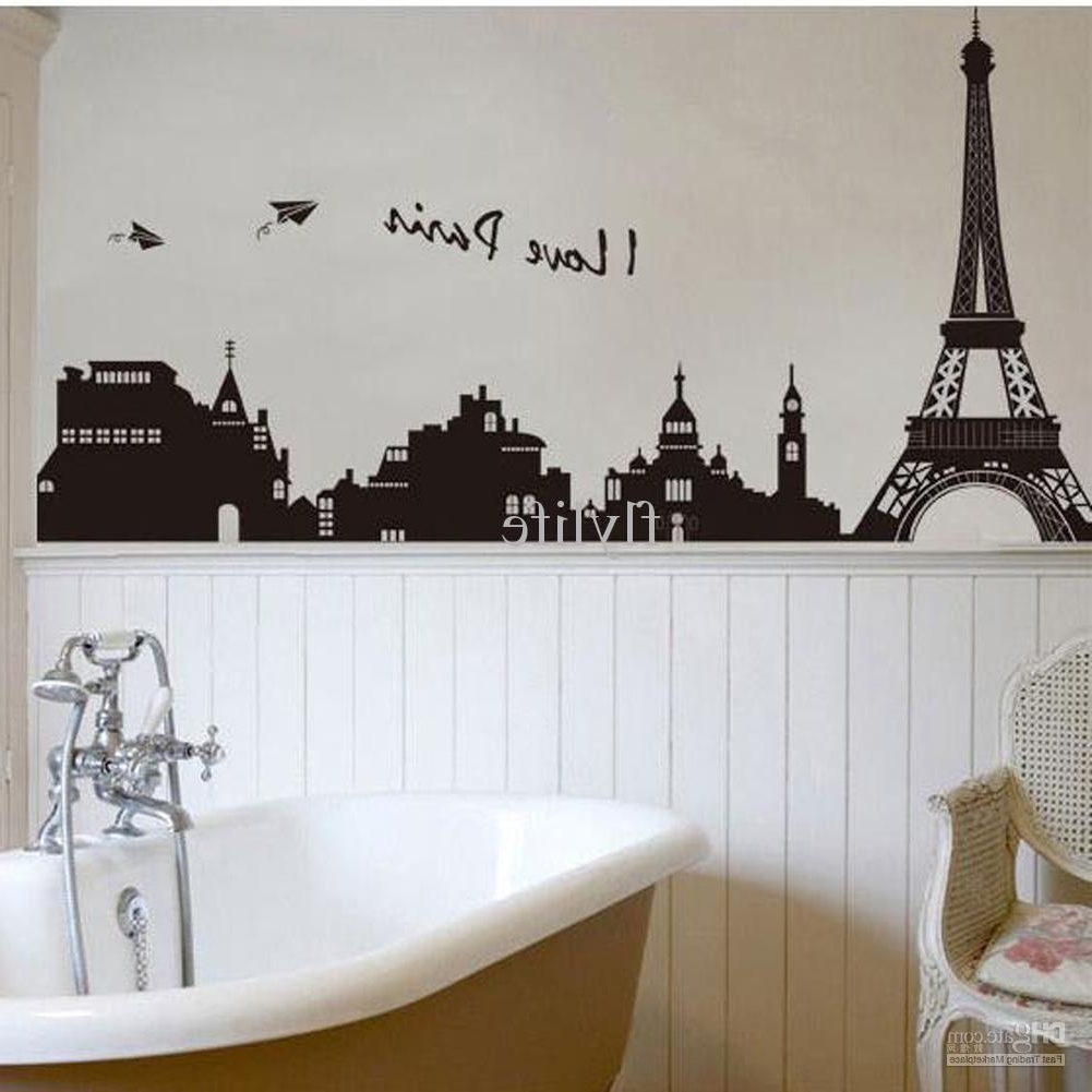 Most Popular Eiffel Tower Building In Romantic Pairs, Large Black Art Wall Inside Paris Themed Wall Art (View 13 of 15)