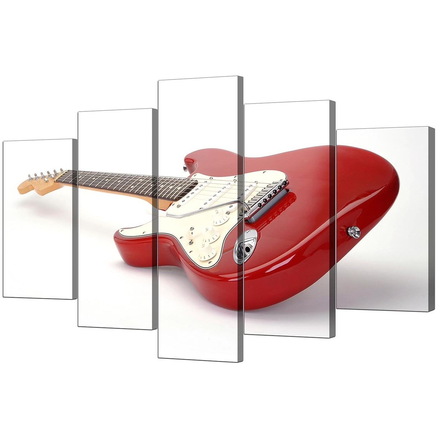 Most Popular Extra Large Guitar Canvas Wall Art 5 Panel In Red In Guitar Canvas Wall Art (View 9 of 15)