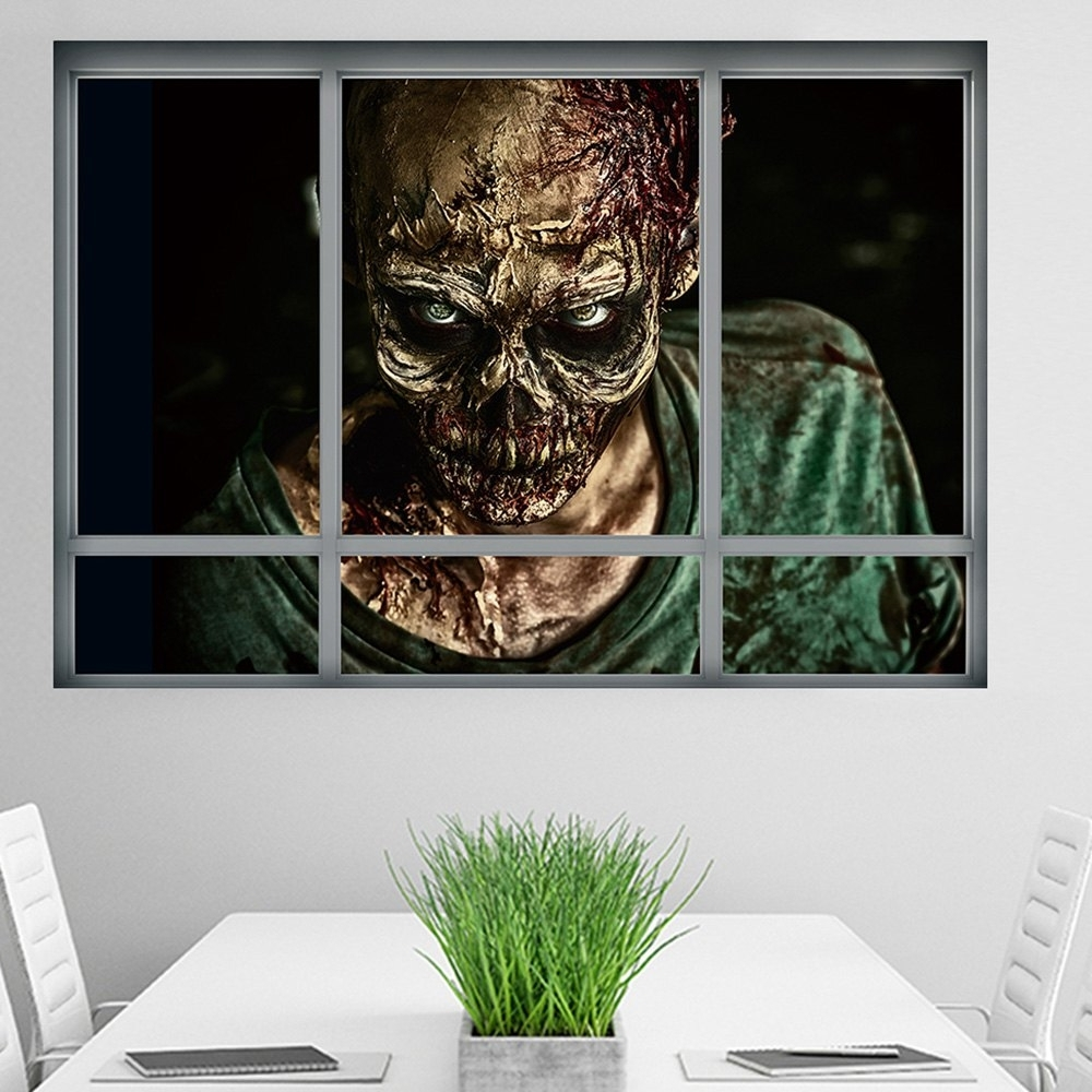 Most Popular Halloween Window Zombie 3D Wall Art Sticker For Bedrooms In  (View 11 of 15)