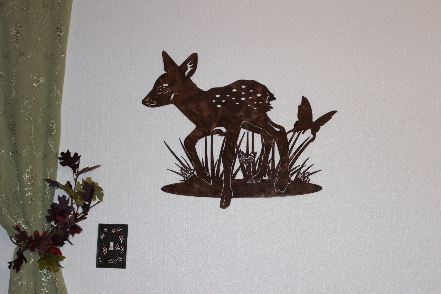 Most Popular Hand Crafted Deer Fawn With Butterfly Metal Wall Art Country Inside Country Metal Wall Art (View 4 of 15)