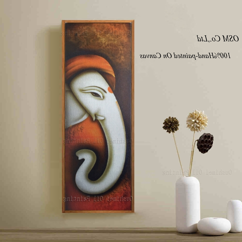 Most Popular Hand Painted Picture Canvas Painting On Wall Pictures For Living In Abstract Ganesha Wall Art (View 9 of 15)