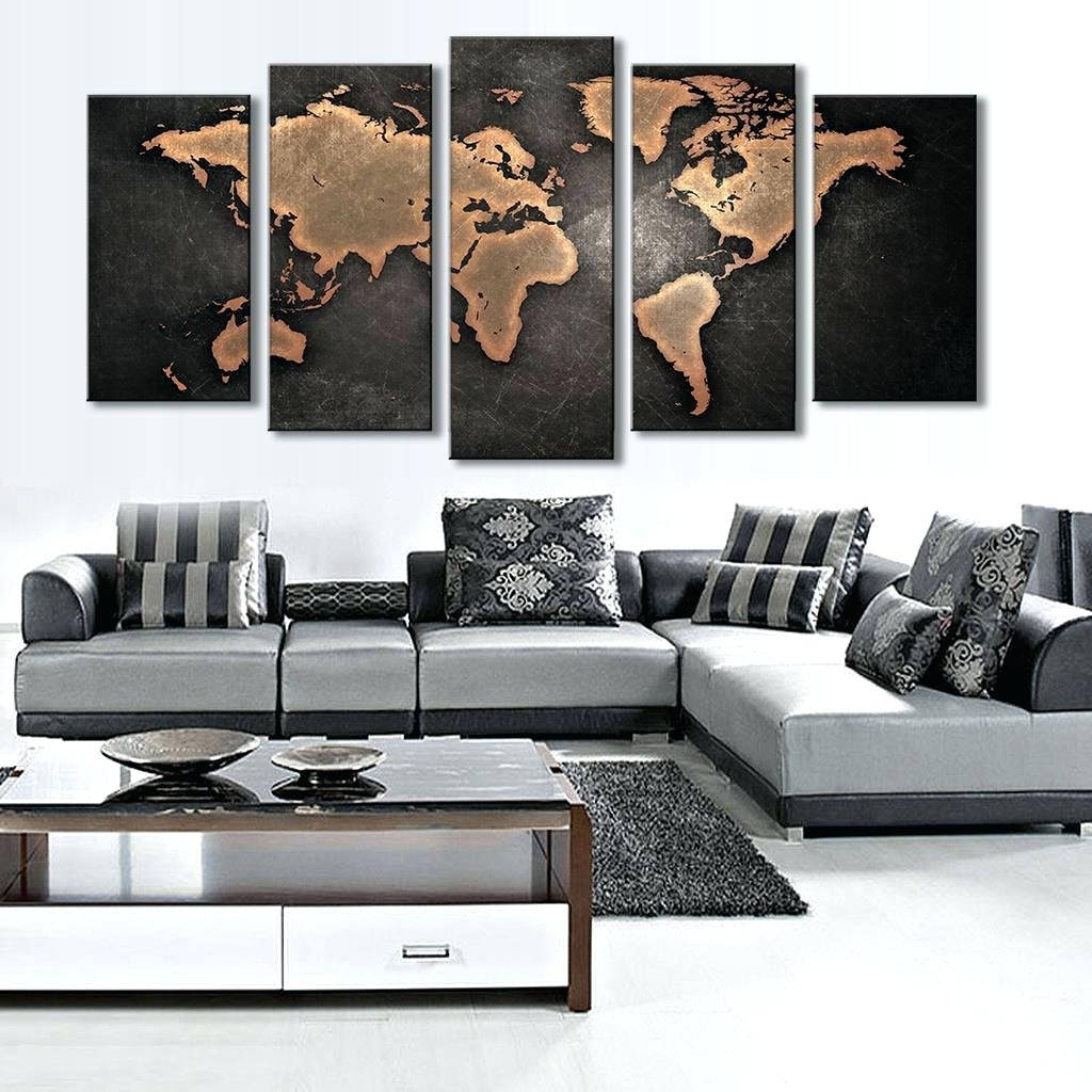 Most Popular Hobby Lobby Abstract Wall Art Inside Wall Arts ~ Mercators World Map Canvas Wall Art 5 Pieces Modular (View 11 of 15)
