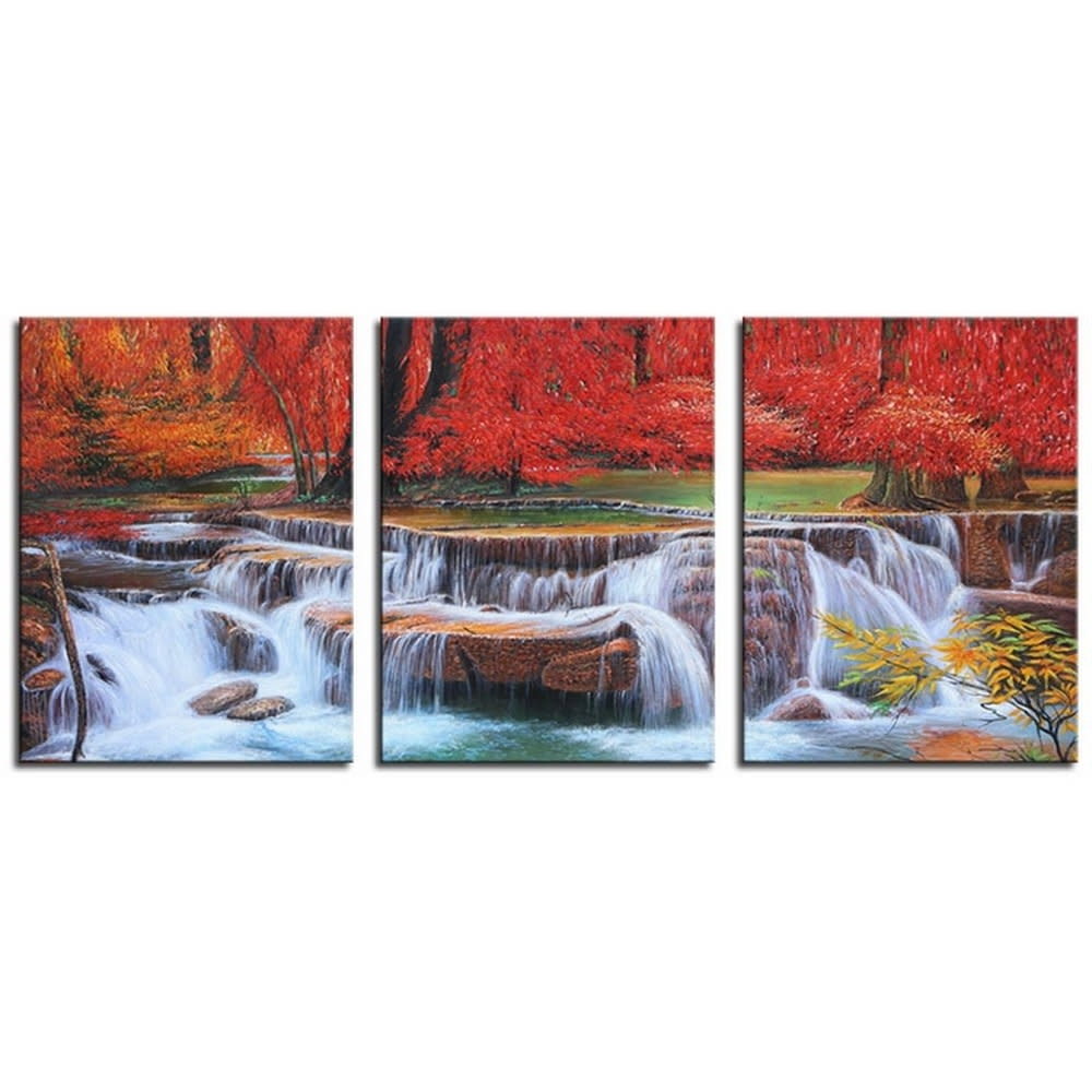 Most Popular Home Modern Wall Art Decor 3pc Canvas Print Red Tree Waterfall With Waterfall Wall Art (View 7 of 15)